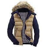 Black Friday Shirts For Men GOVOW Warm Hooded Sweatshirt Men Zipper Coat Outwear Jacket Top Winter Pullover(US:10/CN:L,Khaki)