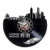 AMARAroom Hong Kong - Wall Clock Made of Vinyl Record - Original Decor - Unique Design - Incredible Gift Idea for Christmas Birthday Anniversary Women Men Boyfriend Girlfriend Teens Friends
