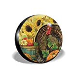 Feim-AO Vintage Thanksgiving Turkey Pumpkin Spare Wheel Tire Cover 14' 15' 16' 17' Waterproof Dust-Proof Fit for Trailer, RV, SUV and Many Vehicle