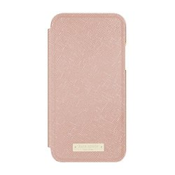 kate spade new york Folio Case for iPhone X - Saffiano Rose Gold/Gold Logo Plate