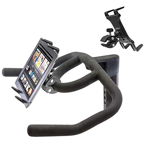 Heavy Duty Clamp Mount w/Universal iPad Pro Tablet Holder for Stationary Bicycle Treadmill Elliptical Indoor Exercise Spin Bike Microphone Stand & Boat Helm (Fits all iPad AIR MINI PRO & Cases)