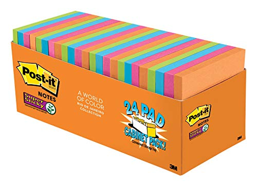 Post-it Super Sticky Notes, Orange, Green, Blue, Pink, Yellow, Sticks and Resticks, Call out Important Information, 3 in. x 3 in, 24 Pads/Pack, (654-24SSAU-CP)