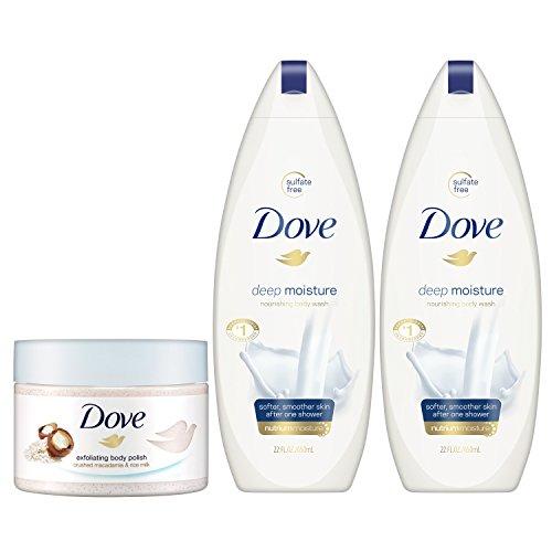 Dove Body Wash and Body Scrub Set Exfoliate and Deep Moisture, 3 Count