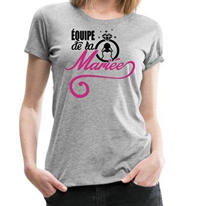 Spreadshirt-EVJF-quipe-De-La-Marie-Bague-T-Shirt-Premium-Femme