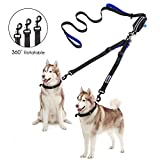 YOUTHINK Double Dog Leash, No Tangle Dog Walking Leash 2 Dogs up to 180lbs, Comfortable Adjustable Dual Padded Handles, Bonus Pet Waste Bag (Double Dog Leash)
