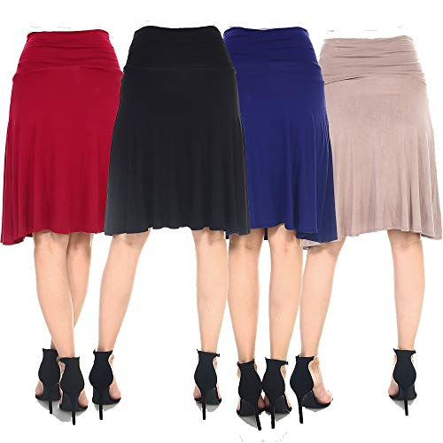 4 Pack of Women's Midi A-Line Basic Skirts – Solid with Fold Over Waist Band Flare Design 16 Fashion Online Shop gifts for her gifts for him womens full figure