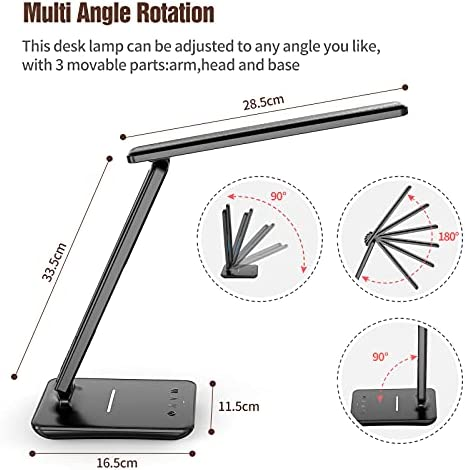 Led Desk Lamp with Wireless Charger,Multifuctional Led Desk Lamp with USB Charging Port,Eye Caring LED Desk Light with LCD Screen,3 Modes 5 Brightness Dimmable LED Lamp for Study or Office