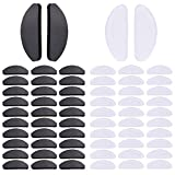 Witkey 32 Pairs Soft Eyeglasses Nose Pads Glasses Adhesive Thin Nosepads Silicone Anti-Slip for Sunglasses, Reading Glasses, (Transparent and Black, 1mm)