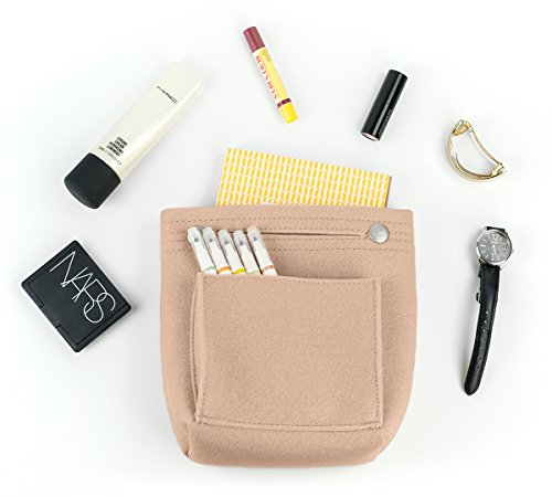 Vercord Felt Tote Handbag Purse Pocketbook Organizer Insert Divider Shaper Bag in Bag, Mini-Beige