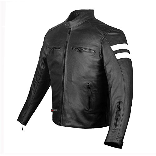 New AXE Men's Leather Jacket Motorcycle Armor biker safety M