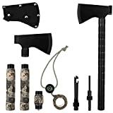 IUNIO Camping Axe Multi-Tool Hatchet Survival Kit 17 inch Folding Portable Camp Ax for Outdoor Hiking Backpacking Hunting Emergency (Black)