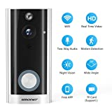 Video Doorbell, SMONET Smart Doorbell Wireless, Security Camera with Two-Way Audio, Real-Time Video, Night Vision, Phone Ring, Free App for iOS and Android, Support Micro SD Card(Silver)
