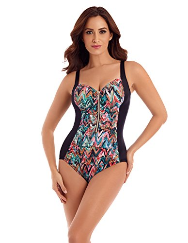 41sn%2BSYZuaL Turn heads in this stunning swimsuit with zip front detail. Vibrant multi-coloured pattern, with clever ruching technique to create a gorgeous hourglass figure. Adjustable shoulder straps provide comfort, whilst the leg line creates a lengthening effect.