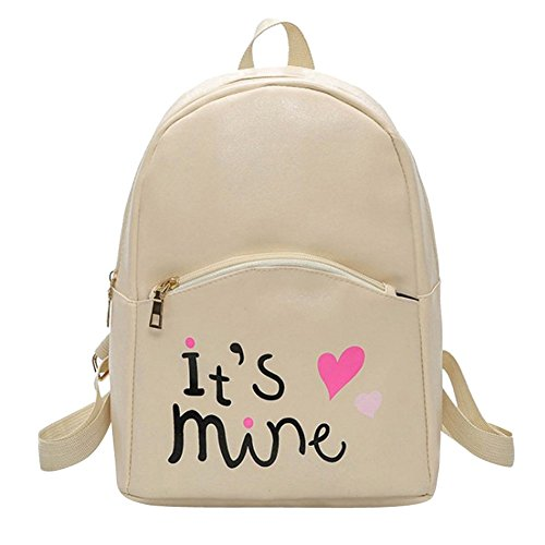 41snn4g1QfL - Bizarre Vogue Cute Medium It's Mine Printed Style Backpack College bag for Girls (Cream,BV1210)