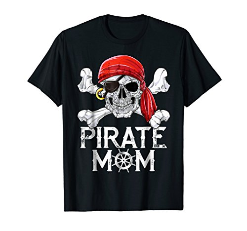 Pirate Mom T shirt Jolly Roger Skull & Crossbones Flag Tees