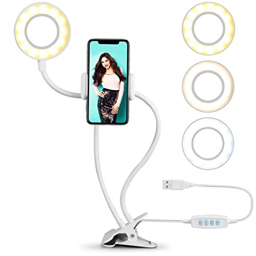 Ring Light for Phone, SIX-QU Cell Phone Holder with Selfie Ring Light for Live Stream, Makeup, Video Chat, 3-Light Mode and 10-Level Brightness with Flexible Phone Stand for Cell Phone