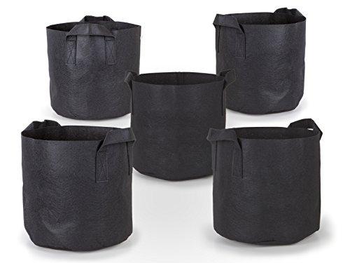 247Garden 5-Pack 20 Gallon Grow Bags/Aeration Fabric Pots w/Handles (Black)
