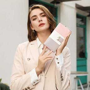 Portefeuille-Femme-Cuir-Porte-Monnaie-Porte-chequiers-Porte-Cartes-pour-11-Cartes-Gris-Blanc-Rose