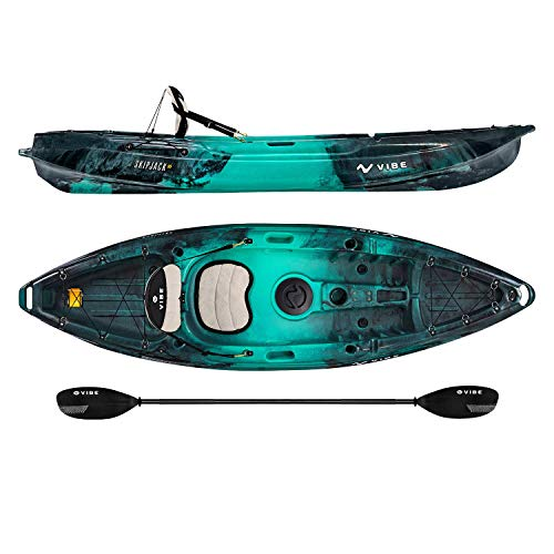Vibe Kayaks Skipjack 90 9 Foot Angler and Recreational Sit On Top Light Weight Fishing Kayak (Caribbean Blue) with Paddle and Seat