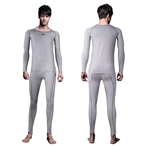 FITEXTREME Mens MAXHEAT Soft Fleece Long Johns Thermal Underwear Set LightGray S