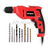 Hi-Spec 400W Multi Purpose Corded Electric Power Drill 3/8' (10mm) Keyless Chuck, Variable Speed Control. With 9 Piece Drill Bits for Metal, Masonry, Wood & Plastic DIY Drilling & Repairs in the Home