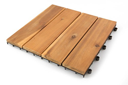Villa Acacia Wood Patio Pavers, Interlocking Deck Tiles for Outdoor and Floors, 12 x 12 Inch, Pack of 10, 4 Slat