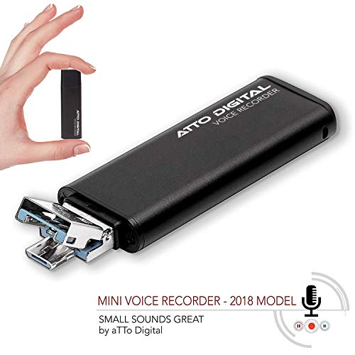 Slim Voice Activated Recorder – USB Flash Drive   26 Hours Battery   8GB - 94 Hours Capacity   512 Kbps Audio Quality   Easy to Use USB Memory Stick Sound Recorder   lightREC by aTTo Digital