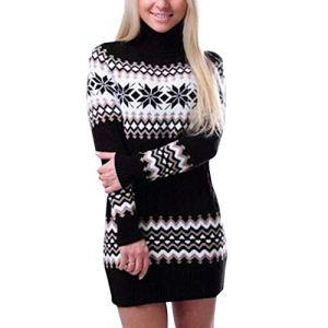 HGWXX7 Women's Casual High Neck Sweater Dress for Christmas Print Long Sleeve Turtleneck Sweatshirt Dresses
