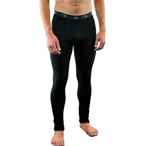 Woolx Mens Arctic Heavyweight Merino Wool Base Layer Bottoms For Extreme Warmth, Black, X-Large