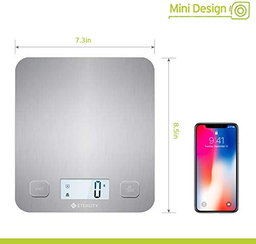 Etekcity Food Kitchen Scale, Digital Grams and Oz for Cooking, Baking, and Weight Loss, Christmas Gift for Holiday Meal Prep, Large, Stainless Steel 6