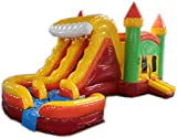 Commercial Grade 29 Foot Green, Yellow & Red Marble Helix Wet/Dry Combo Bounce House Inflatable
