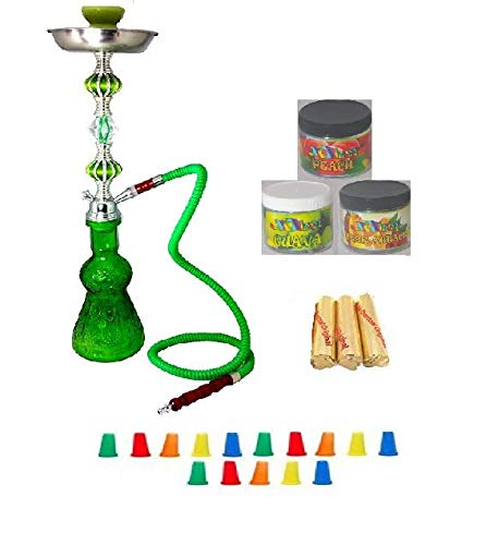 Zebra Smoke Starter Series: 18' 2 Hose Hookah Combo Kit Set w/ Instant Charcoal (Like Three Kings Charcoal), Hydro Herbal Molasses(like Blue Mist), and Hookah Mouth Tips Smokes More Then Hookah Pen And CASE (RED)