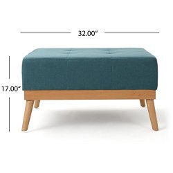 Christopher Knight Home Luise Fabric Ottoman, Dark Teal