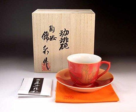 Japanese traditional crafts | Arita - cinnabarçÖ‹àAya auspicious Fuji crane picture coffee cup | potter Fujii NishikiAya