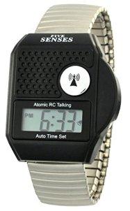 TimeChant Atomic Talking Watch - Five Senses Top Button LCD Atomic Talking Watch (1095)