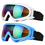 COOLOO Ski Goggles, Pack of 2, Skate Glasses for Kids, Boys & Girls, Youth, Men & Women, with UV 400 Protection, Wind Resistance, Anti-Glare Lenses (Blue/White)
