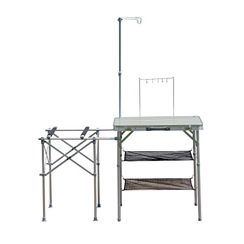 Outsunny 4.5' Deluxe Portable Fold-Up Camp Kitchen - Silver