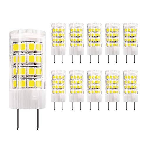 DiCUNO G8 LED Bulb, 4W Daylight White 6000k, Under Cabinet Counter Light, 40w Equivalent Halogen Replacement,10Pcs, Note: Must Check Size Before Purchase (See Picture 2&3)