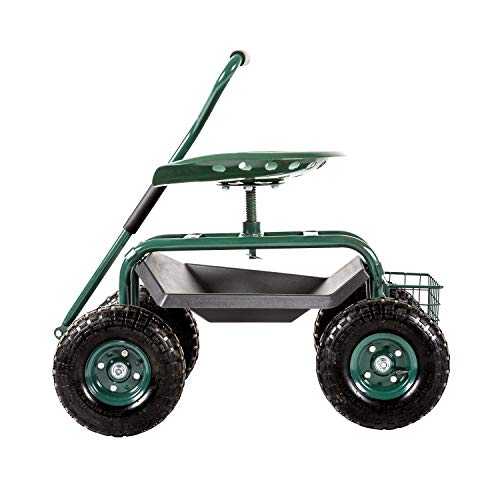 Kinsuite Garden Cart Rolling Work Seat Outdoor Utility Lawn Yard Patio Wagon Scooter for Planting Adjustable 360 Degree Swivel Seat Green