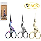 CheeseandU 3Pack Bird Scissors Vintage Crane Design 3.5' Small Stainless Steel Scissors Sharp Sewing Shears for Embroidery Crafting Artwork Threading Needlework Home DIY Tool,Gold+Silver+Colorful