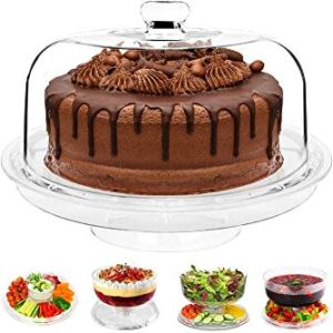 6 in 1 Multi-Function Plastic Cake Stand with Dome Lid Dip Platter, Punch Bowl, Salad Bowl, Chip & Dip Server, Serving Stand, Food Dome 41tG3JvWCiL