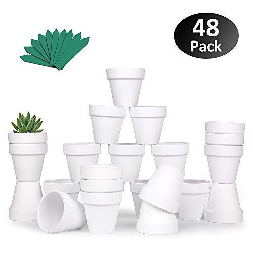 "GROWNEER 48-Pack 2.5"" White Mini Clay Pots Terracotta Pot with 25 Pcs Plant Labels, Ceramic Pottery Planter Cactus Succulent Nursery Pots, for Indoor Outdoor Plants, Crafts, DIY, Wedding Favor"