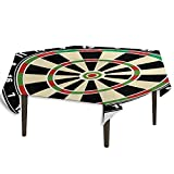 Sports Leakproof Polyester Tablecloth Dart Board Numbers Sports Accuracy Precision Target Leisure Time Graphic Dinner Picnic Home Decor W36.2 x L36.4 Inch Vermilion Green Black