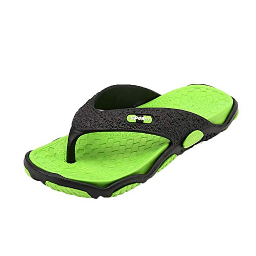 Men's Open Toe Slippers TANGSen Summer Casual Outdoor Fashion Beach Shoes Breathable Massage Bathroom Flip Flops Green