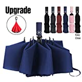 Umbrella Inverted Travel Umbrella Windproof Compact Folding-Blue