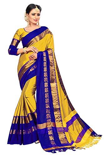 VAIVIDHYAM Women's Cotton Silk Saree with Blouse Piece (Yellow)