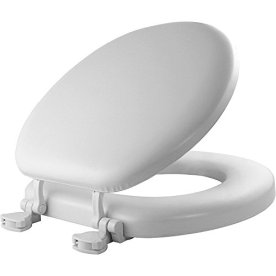 Mayfair 13EC 000 Soft Toilet Seat Easily Removes ROUND, Padded with Wood Core, White