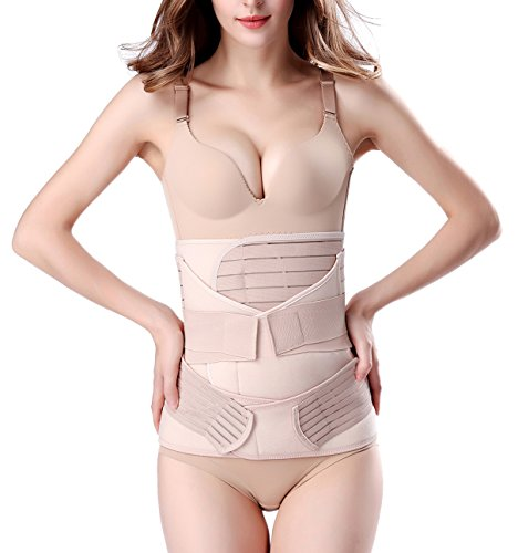 ChongErfei 3 in 1 Postpartum Support Recovery Belly Wrap Waist/Pelvis Belt Body Shaper Postnatal Shapewear,Plus Size Beige