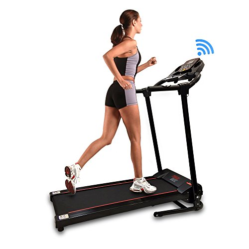 Smart Digital Folding Exercise Machine - Electric Motorized Treadmill with Downloadable Sports App for Running & Walking - Pairs to Phones, Laptops, & Tablets via Bluetooth - SereneLife SLFTRD18