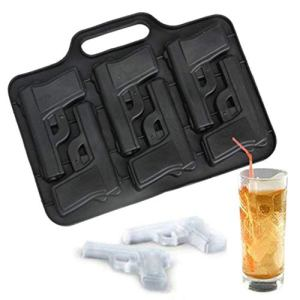 WZC 6 Cavities Gun Pistol Shaped Silicone Mold Chocolate Ice Cube Tray Muffin Molds DIY Party Drink Tools in Cake Molds Kitchen Supplies,A 41tP83D89fL